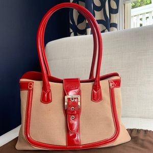 Tod's Red Patent Leather & Linen Handbag